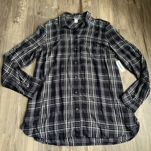 Old Navy Black White Plaid Flannel Shirt Large
